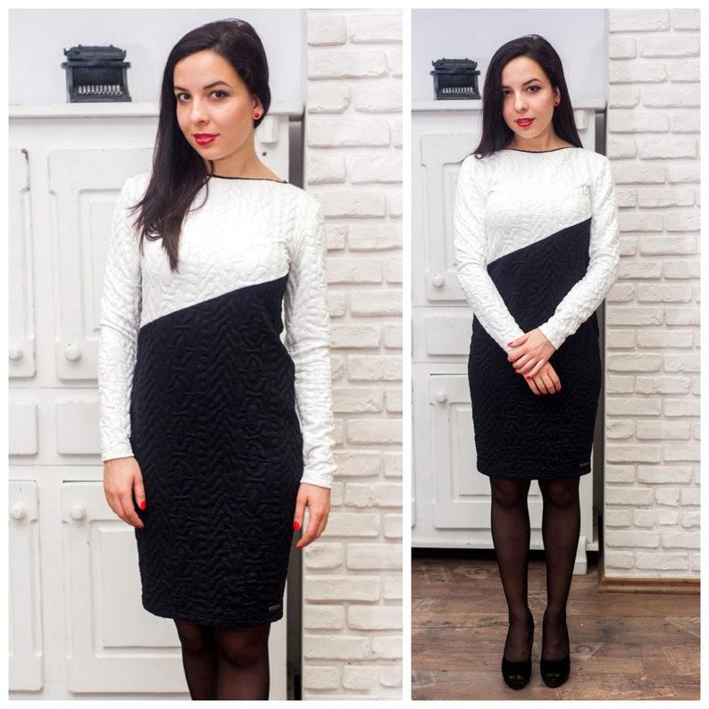 f35e6b7f7668 Elegant black and white knee length dress long-sleeved dress | Etsy