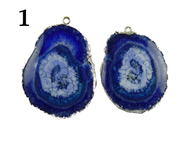 Real Blue Solar Quartz Agate Geode Druzy Silver Electroplated Connectors Pair For Making DIY Earring Gemstone Geode Connector Making Jewelry