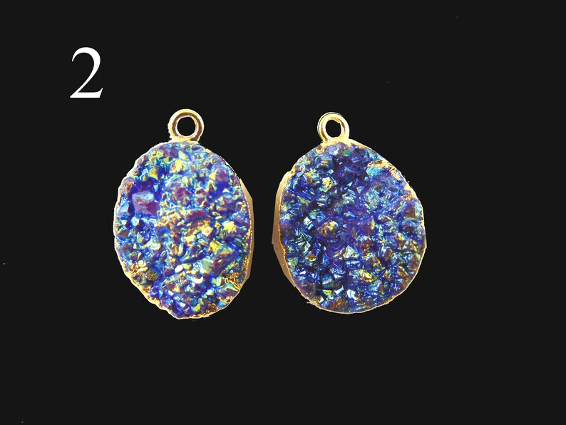 DIY Earrings Appealing Gold Plated Geode Titanium Earrings Earrings Pair Titanium Geodes Connector Earrings Finding Jewelry Supplies