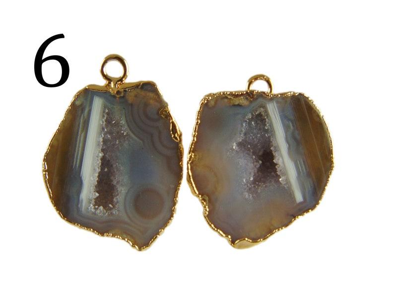DIY Earrings Lite Blue Geode Druzy Designer Geode Druzy Pairs White Geode Druzy Gold Plated Connectors Earrings Pairs Connectors