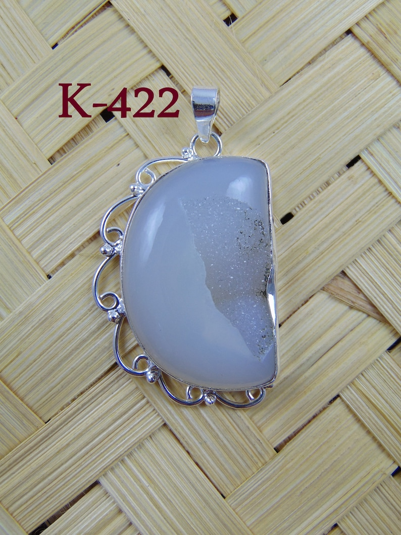 Silver Plated Geode Stone Agate Pendant Sugar Well Window Natural Gemstone Druzy Pendant Designer Connector Supply Making Charms Findings 31