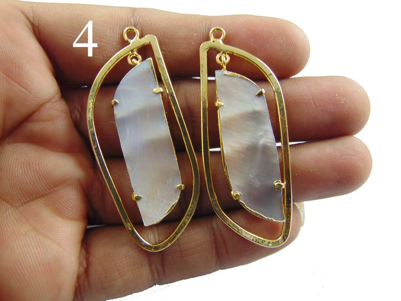 24k Gold Plated Fancy Connector Shell Earring Pearl Earring Finding Supply Mother of Pearl Earrings White Abalone Earrings Druzy Earring
