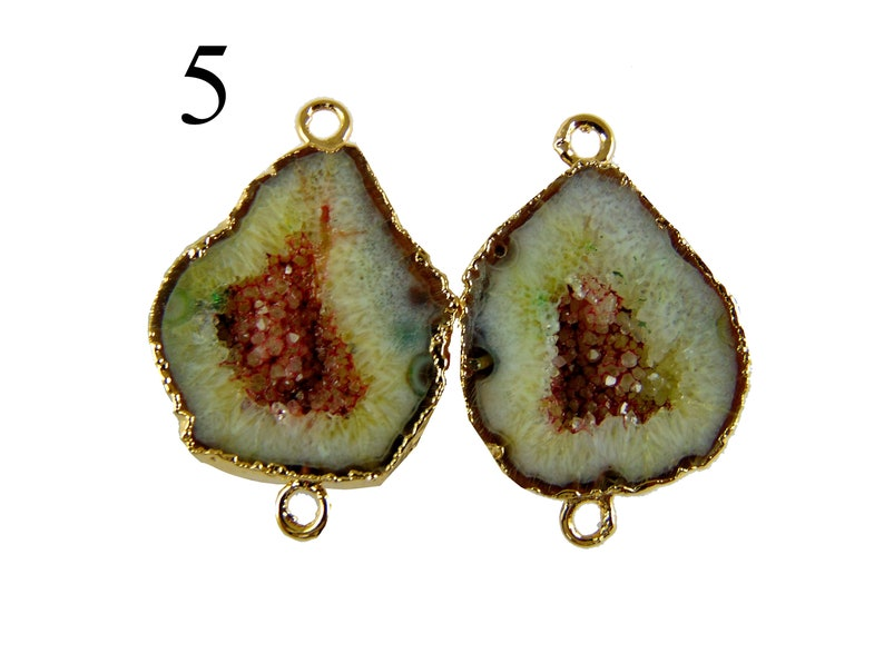 Rare Black Blue Cave Geode Agate Druzy Gold Electroplated Connectors Pairs For Making Earrings Gemstone Geode Pairs Connector Making Jewelry