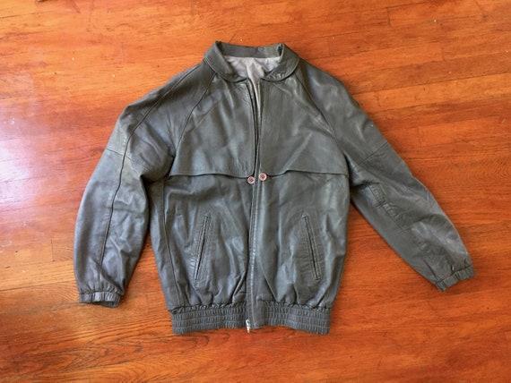 Gray Leather Bomber Jacket