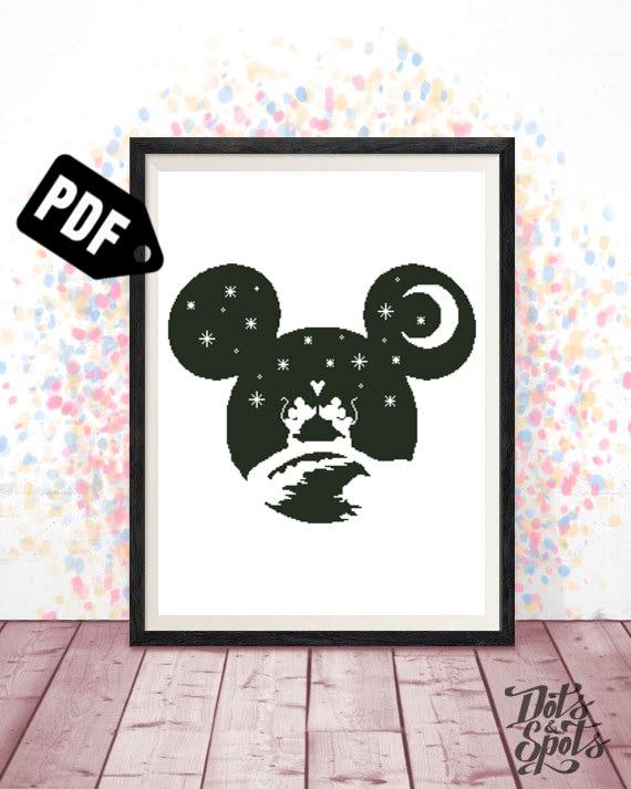 Mickey Mouse and Stitch Cross Stitch Patterns.Paper or PDF.