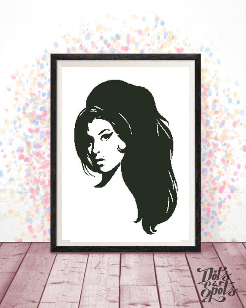 Inspired By Amy Winehouse Cross Stitch Pattern Portrait Fan Etsy