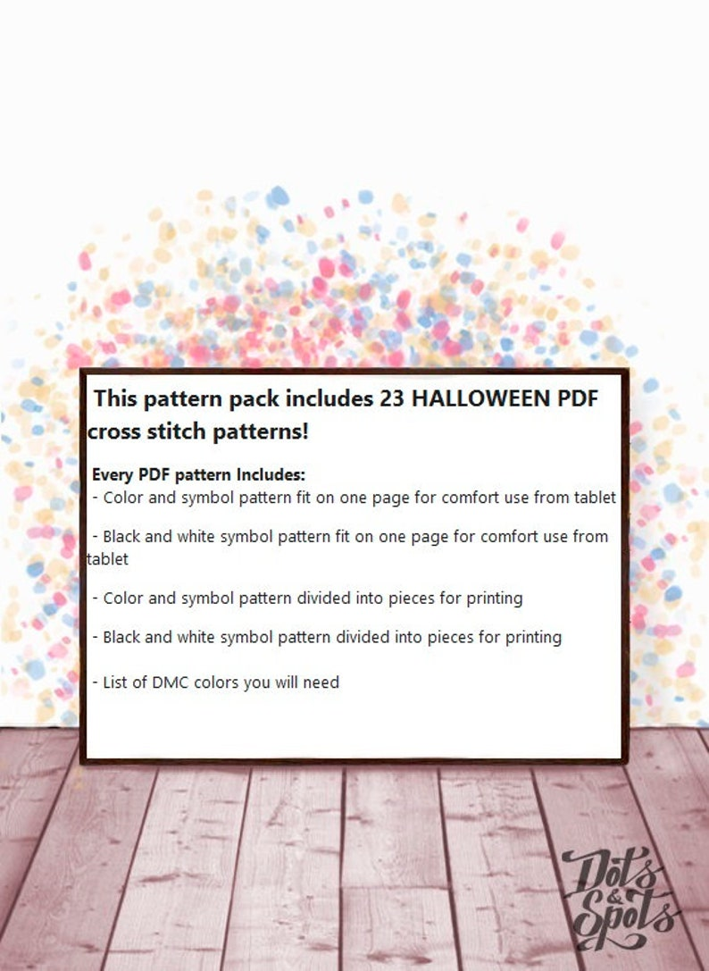 Set of 23 cross stitch-Halloween cross stitch-cross stitch pattern pack-for beginners-Embroidery-Needlepoint Kits-pdf Instant Download-ST-08