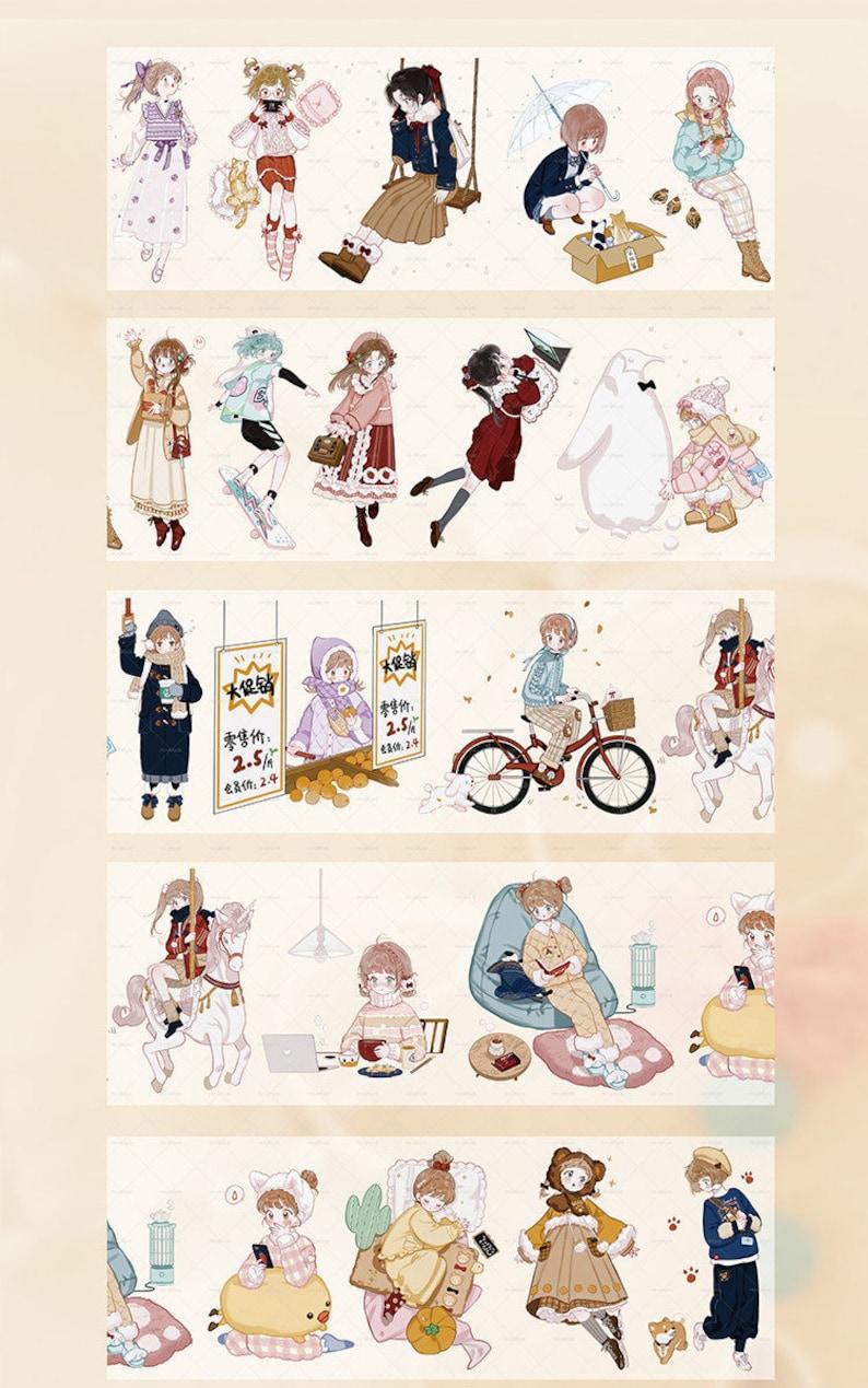 Assorted Cute Girls in Winter Washi Tape\uff0c75mm Width,210315-07 masking tape,deco tape Washi tape roll cute tape Washi tape samples