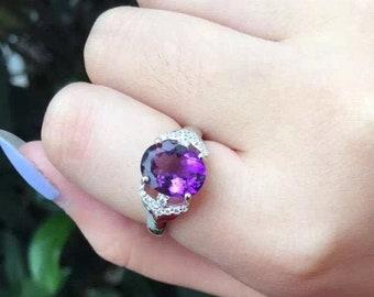 Amethyst Ring925 Sterling SilverAmethyst RingsAmethyst StoneWedding GiftGiftDainty ringGift for WomenBridesmaid GiftRing For gift