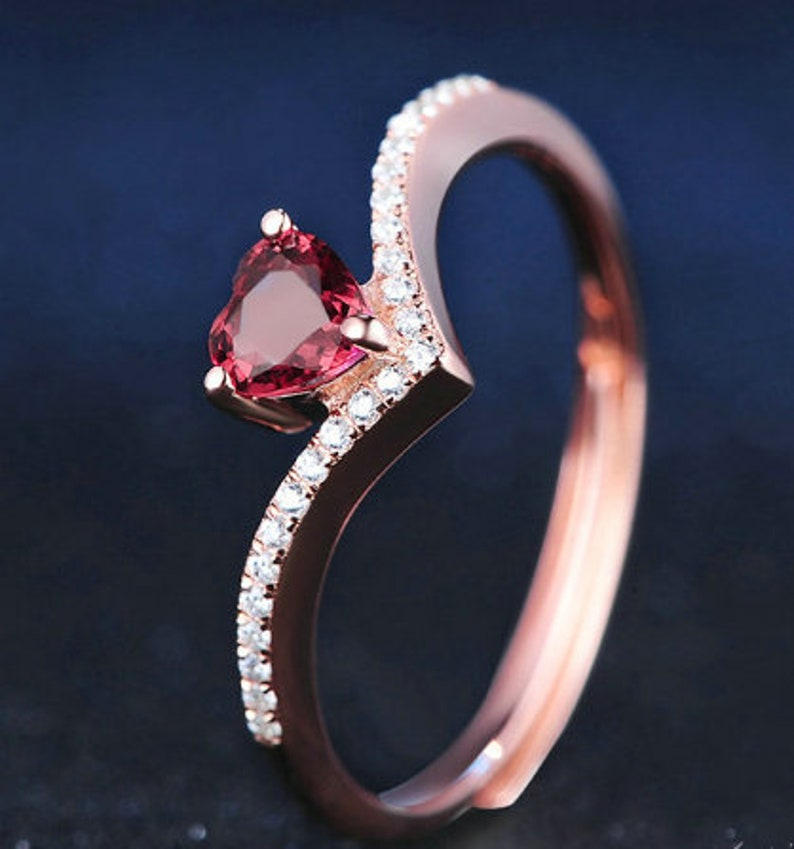 Ring For Women Natural Red Garnet Love Heart cut 925 Sterling Silver Romantic Wedding Fine Jewelry Gift Engagement Ring Gift For Women
