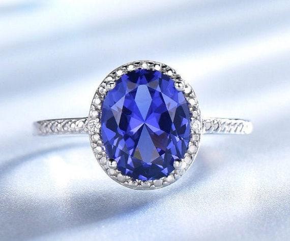 925 Sterling Silver Natural Tanzanite Diamond Pendant Engaguement gift 03 Weddind gift