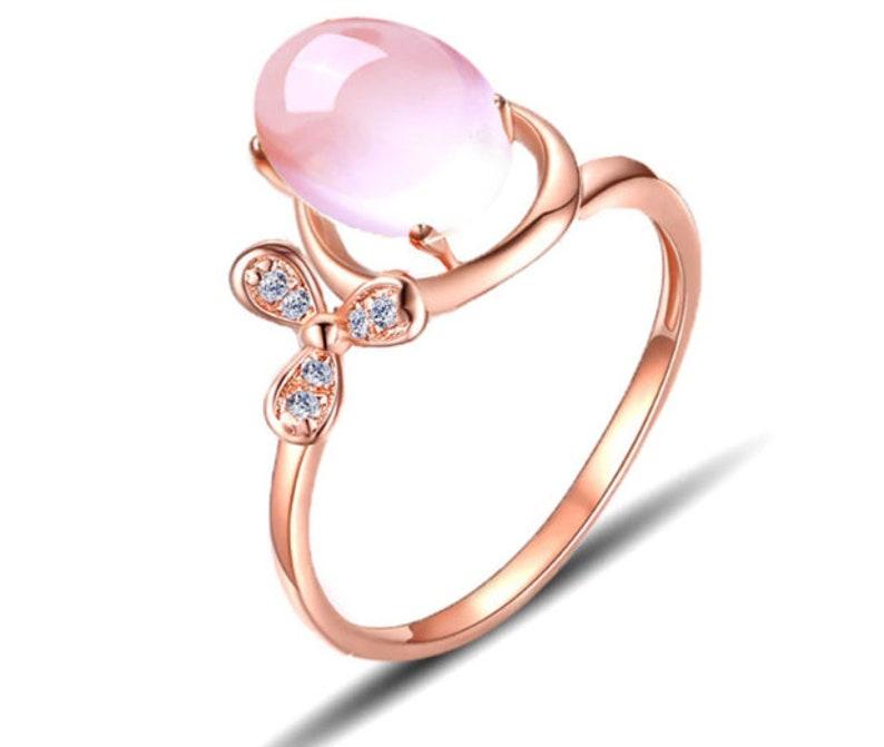 Lab Oval Pink Quartz,925 Jewelry,Quartz Gemstone Ring,Anniversary Gift,Wedding Gift,Engagement Ring,Quartz Gemstone Ring,Ring For Woman