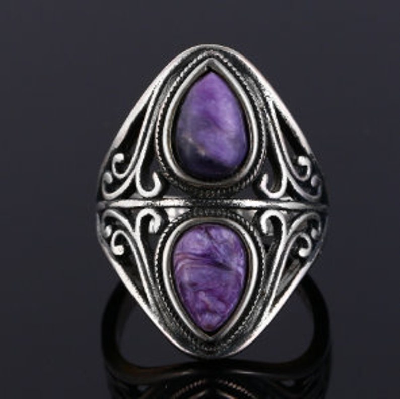 Charoite Ring,925 Silver Ring,Dual Gemstone Ring,Woman Gift Jewelry,Anniversary Gift,Wedding Gift,Birthday Gift,Gift For Her