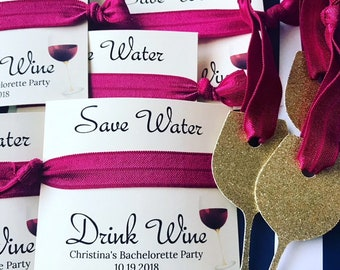 wine themed bachelorette party favors wine themed bridal shower favors party hair tie favors save water drink wine party favors