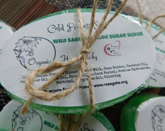 40% OFF - Wild Sage and Aloe Sugar Scrub - Organic Cold Process Soap - Handmade - Goat Milk, Shea Butter