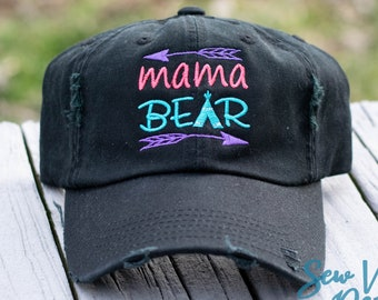5be32506284953 Mama Bear Custom Trucker hat for Women, Custom Embroidered Hat for Momma  Bear, Ponytail Hat, Custom Baseball Cap, Distressed Dad Hat