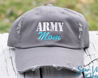 dccfc49ede9700 Army Mom Distressed Baseball Ponytail or Trucker Cap, Custom Embroidered Hat,  Proud Army Mom Gift