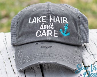 2b92303031d1b8 Lake Hair Don't Care Distressed Baseball Ponytail or Trucker Cap, Summer or  Spring Vacation Hat for Lake with Anchor