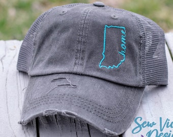 67ab82288c2a9c Indiana Home State Outline Distressed Baseball Ponytail or Trucker hat,  Personalized and Custom Cap