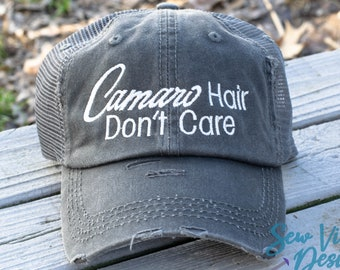 d1106e1bf Camaro Hair Don't Care Distressed Baseball Ponytail or Trucker hat,  Personalized and Custom Cap, Chevy SS, Z28