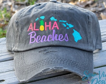 premium selection 2835a ae746 Aloha Beaches with Pineapple and Hawaiian Islands Embroidered Distressed  Baseball Ponytail or Trucker hat, Personalized and Custom Cap