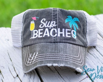a26bac83 Sup Beaches Distressed Baseball Cap with Cocktail, High Ponytail and Trucker  Hat, Funny Vacation Hat, Girls Trip - Girls Weekend Party Hat