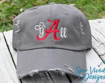 be8150d0929ca Alabama Y all Distressed Baseball Cap