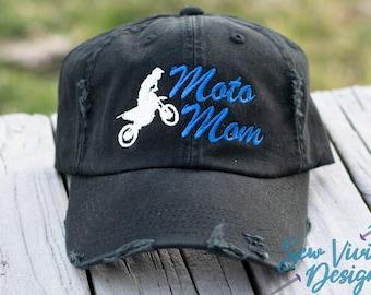 bad8fdee2c2e0 Moto Mom Distressed Baseball Ponytail or Trucker Hat