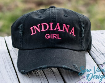ef56016ed4800b Indiana Girl Distressed Baseball Ponytail or Trucker Hat, Custom  Embroidered Indiana Cap