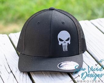 Punisher Skull Hat | FlexFit Hat | Fitted Hat | Patriotic Skull Hat | Military Skull Cap | Flex Fit | Patriotic Punisher Hat