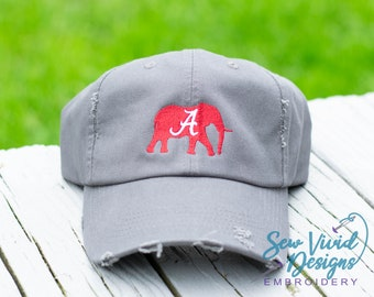 6942f50af2182 Alabama Crimson Elephant Distressed Baseball Cap