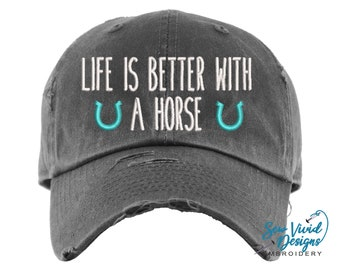 Life is Better with a Horse Hat | Distressed Baseball Cap OR Ponytail Hat | Horse Lover Gift | Equestrian Gifts | Horse Gifts | Horse Girl