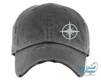 Compass Hat | Distressed Baseball Cap OR Ponytail Hat | Hiking Hat | Summer Adventure Outdoor Hats | Travel Gift | Compass Gifts