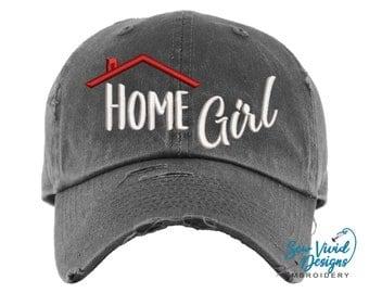 Home Girl Hat | Distressed Baseball Cap OR Ponytail Hat | Realty | Real Estate Agent Hat | Real Estate Gift | Closing Gift | Marketing
