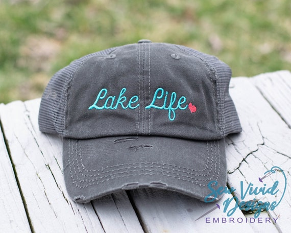 Lake Life Hat Personalized Distressed Baseball High Ponytail  a893ea0c423d