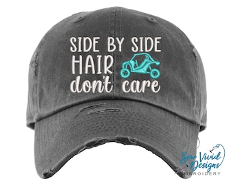 Side by Side Hair Don't Care Hat | Distressed Baseball Cap OR Ponytail Hat | UTV Riding | Mudding Accessories | SXS Hats | Offroading Hats