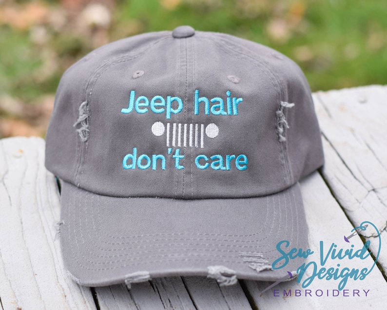 1f5ad2ee79fed Jeep Hair Don t Care Hat Custom Embroidered Hat Trucker