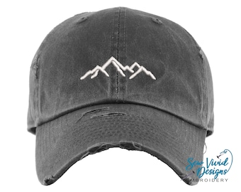 Mountain Hat | Distressed Baseball Cap OR Ponytail Hat | Hiking Hat | Summer Adventure Outdoor Hats | Mountains Camping Embroidered Dad Hat