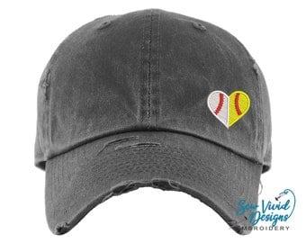 Half Softball and Baseball Hat | Distressed Baseball Cap OR Ponytail Hat | Ball Mom | Softball Mom Hat | Baseball Mom | Baseball/Softball