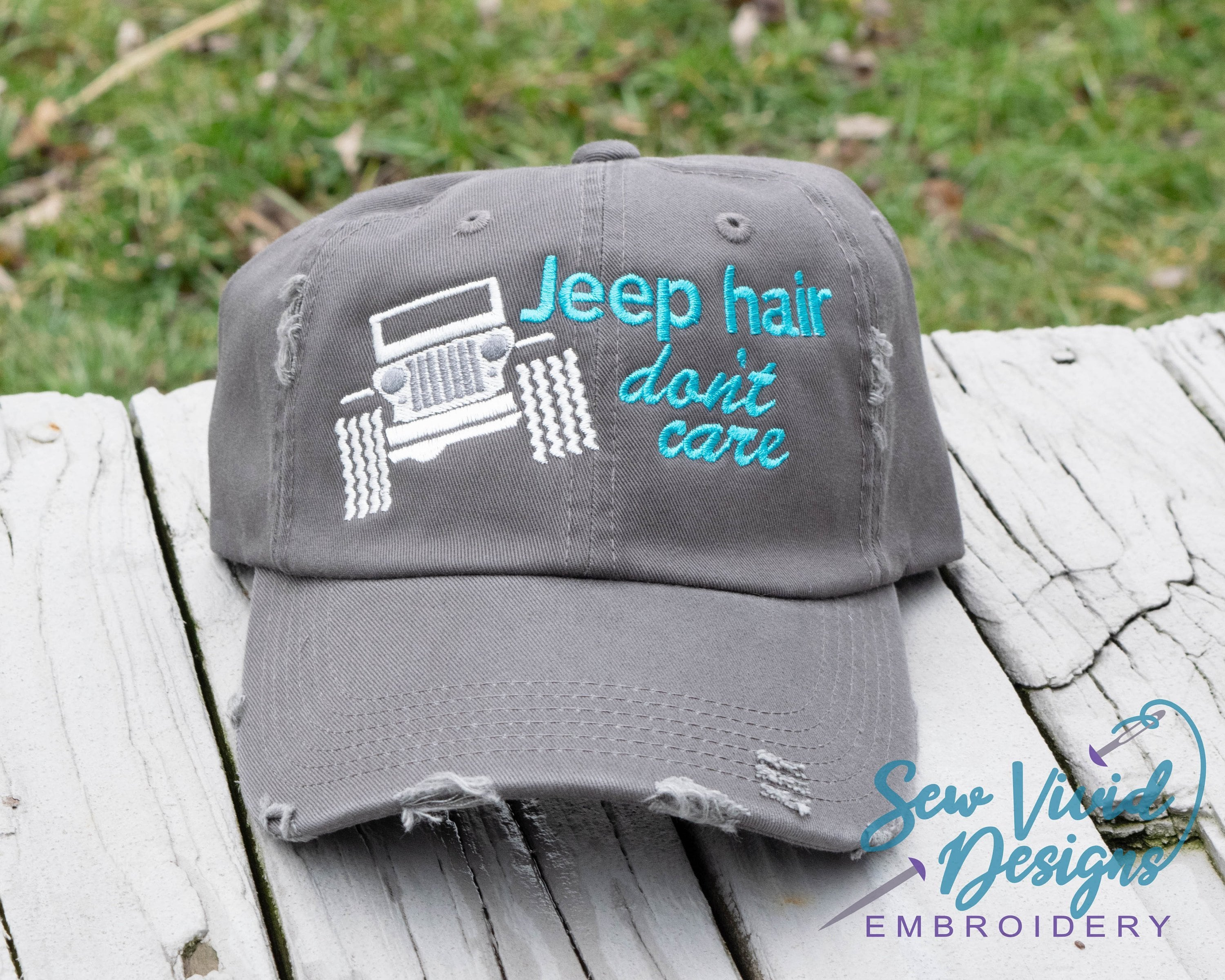 0213897ceeff5 Jeep Hair Don t Care with Wrangler Distressed Baseball