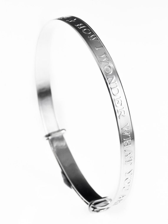 Sterling Silver Solid 925 Babies First Diamond Expanding Bangle