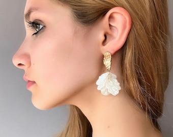 Unique. Enamel flower earrings Flower hoop earrings Statement earrings Bumble bee earrings Boho earrings Summer blossom earrings