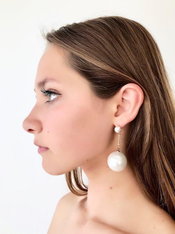Womens Long Large Big Statement Pearl Beaded Hook Drop Dangle Earrings JJ