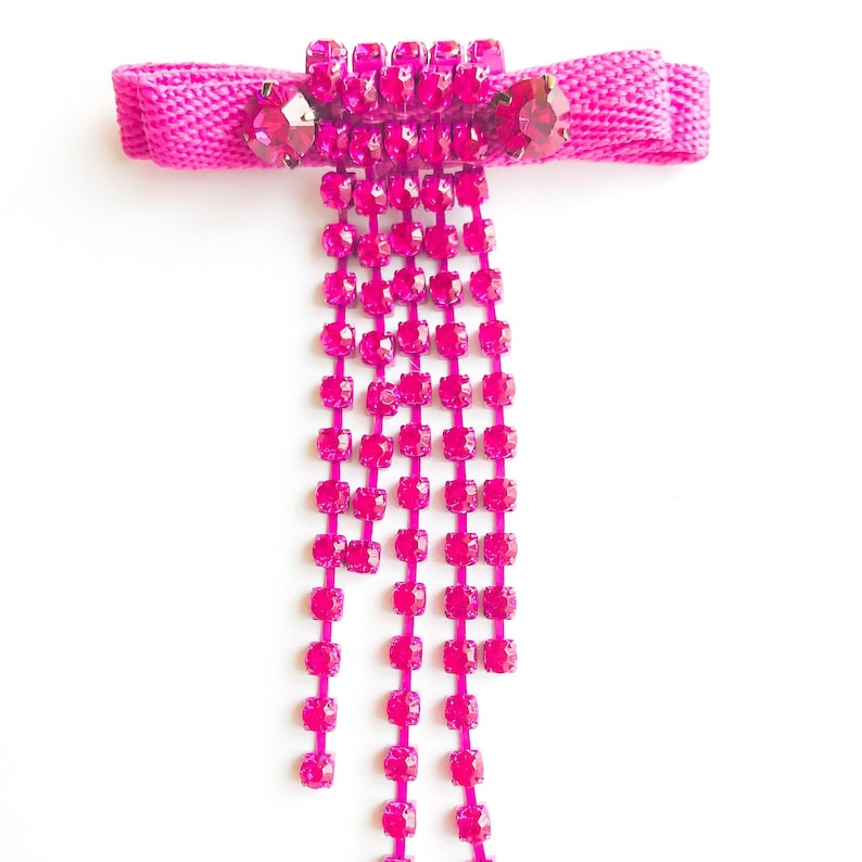 Pink brooch Gift idea Pink rhinestone brooch Bow brooch Pink bow brooch