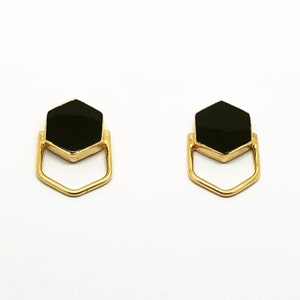 18K Gold Plated, Sterling Silver, Hypoallergenic, Light Weight Juno Studs Moonstone /& Amazonite