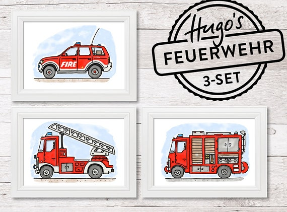 A4 Kinderzimmer Poster 3 Set Feuerwehr Fahrzeuge Etsy