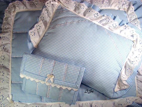 Puppenwagen puppenbett garnitur 3 tielig hellblau weiß etsy