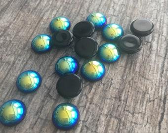 Transparent Aqua Blue 9mm Round Preciosa Glass Cabochons Flat Back Dome Stones 6