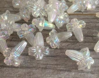 3 German 70s XXL plastic beads crystal 36 mm