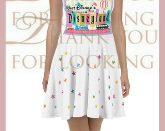 76f5f9aff Flattering Retro Vintage Disneyland Ladies Women's Print Skater Dress in  White w Stars Sizes XS S M L XL 2X 3X Fun Disney Vacation Apparel !
